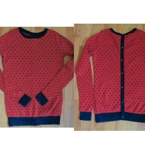 Hilfiger 100% Pima Cotton red polka dot sweater